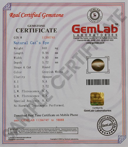 Cat\'s Eye (Lehsunia) Gemstone Certification - Catseye.org.in